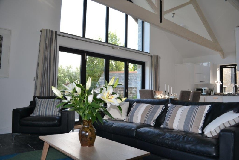 Lounge area in Orchard Barn Holiday cottage Cornwall