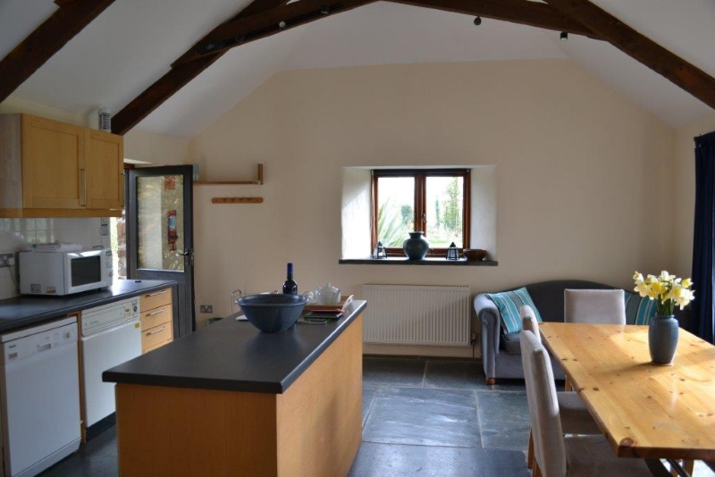 Open plan kitchen diner at the Granary in Cornwall